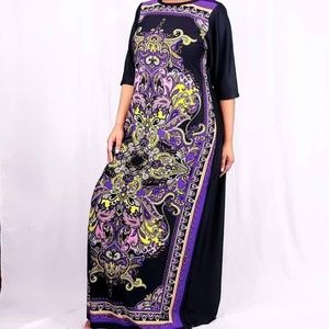 AYABA COLLECTION Dresses - LONG DRESS WITH ABSTRACT LOZENGES PRINT